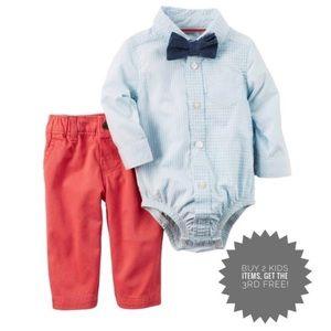 Carter's 3-Pc. Bowtie Shirt & Twill Pants Set